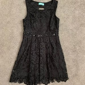 Lace Little Beaded Black Dress with Cut-Out Back